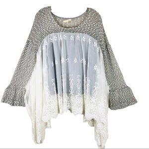 RYU grey cream lace knit boho bell sleeve top